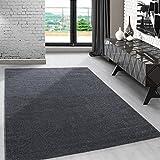 Modern kurzflor Teppich unifarben einfarbig design meliert Grau-Weiss für...