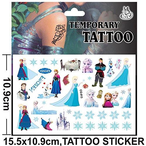 Inception pro infinite cg - 013 - tattoo - adesivi - finti - temporanei - personaggi - cartoni animati - frozen - adesivi - foglio - elsa - anna