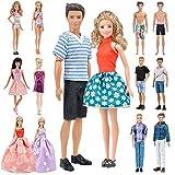 E-TING Lote 12 artículos = Traje de baño de traje de moda Traje de traje casual Citas de pareja Accesorios de vestir Zapatos para muñecas Estilo aleatorio (Ropa Casual Ropa + Vestido + Traje de baño)(Muñecas no incluidas)