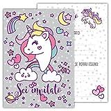 Partycards Set di 12 inviti Compleanno Biglietti invito per Festa Compleanno per Bambini e Adulti in Italiano - Unicorno Magico