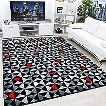 Moderno Y Contemporáneo Negro, Gris, Crema & Rojo Muy Funky Alfombra Extra Grande - 120x170cm