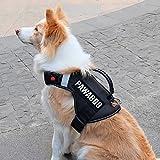 Pawaboo Service Hundweste Hundegeschirr, Premium Durable Hochleistungs Soft Gepolsterte Reflektierende Hund Weste Harness mit 2 abnehmbaren Klett-Patches, starker PVC-Griff oben, Large, schwarz
