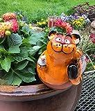TB Gartenstecker Gartenkugel Blumenstecker Katze m. Vogel Gartendeko Beetstecker