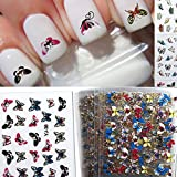 BESTIM INCUK 24 Sheets Colorful 3D Butterfly Nail Art Transfer Stickers Manicure Tips Decals Wraps Decoration for Women Girls