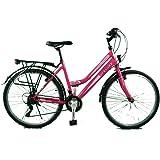 breluxx® 26 Zoll Damenfahrrad Mädchenrad Citybike pink - 21 Gang Shimano + Beleuchtung
