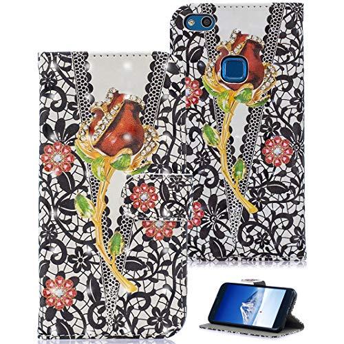 Huawei P10 Lite Leder Hülle, Book Style Lederhülle Ledertasche Handyhülle Tasche Schutzhülle aus Kunstleder Brieftasche Cover Design Schmetterling mit Standfunktion/Kartenfächer für Huawei P10 Lite