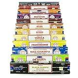 Satya Set di bastoncini di incenso, 12x 15 g - include:Nag Champa, Superhit, Om Shanti, Muschio, Black Champa, Mirra, Fuoco di drago, Meditazione, Legno di sandalo, Tantra, Vaniglia