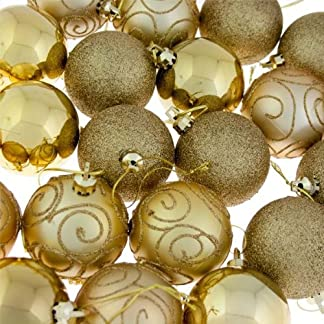 24 x adornos de bolas de Navidad bolas dorado – a prueba de impactos – de Navidad