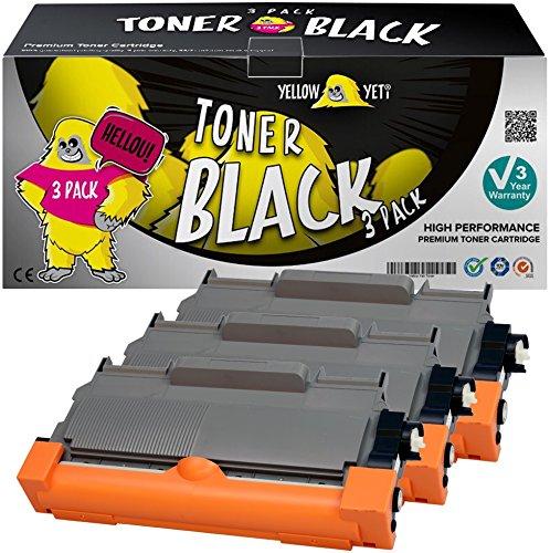 Yellow Yeti TN2220 TN2010 (2600 páginas) 3X Tóner Compatible para Brother HL-2220 HL-2240 HL-2130 HL-2132 HL-2135W HL-2230 HL-2250DN HL-2270DW DCP-7055 DCP-7060 DCP-7065 DCP-7070 [3 años de garantía]
