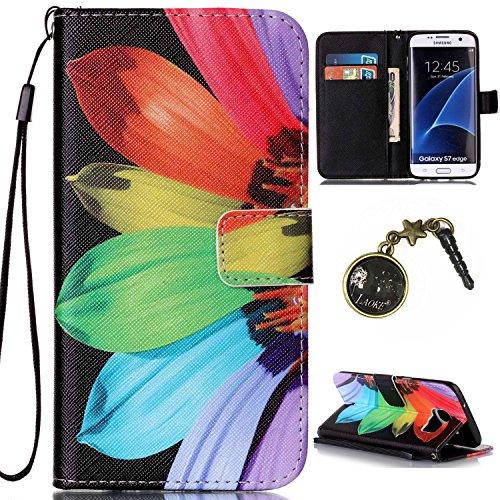 PU Galaxy S7 Edge Hülle,Hochwertige Kunst-Leder-Hülle mit Magnetverschluss Flip Cover Tasche Leder [Kartenfächer] für Samsung Galaxy S7 Edge Schutzhülle Lederbrieftasche Executive Design +Staubstecker (5II)
