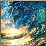 Kunstloft® fotografía artística enmarcada 'Inside The Wave' 80x80cm | fotografía contemporánea Cubierta por Vidrio | Olas Sol Azul Amarillo | fotografía artística con Marco de Aluminio