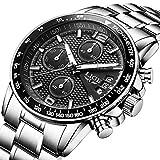 Reloj de Pulsera para Hombre de Acero Inoxidable Negro clásico Reloj de Negocios analógico Reloj de Cuarzo Resistente al Agua Deportivo cronógrafo