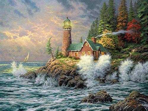 Van Eyck Seaside Villa verde paesaggio stampato Thomas Kinkade paesaggio pittura ad olio stampe su (Thomas Kinkade Artwork)