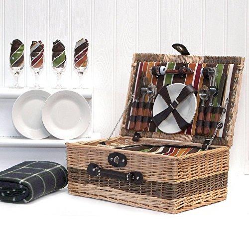 Luxuriöser Weiden Picknickkorb 'Buckingham' für 4 Personen Mit Passendem Zubehör Eine Ideale Geschenkidee Zum Muttertag Und Geburtstag