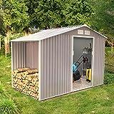 Concept-Usine Ventoux 6.53 m² : abri de jardin avec abri bûches en metal anti-corrosion gris