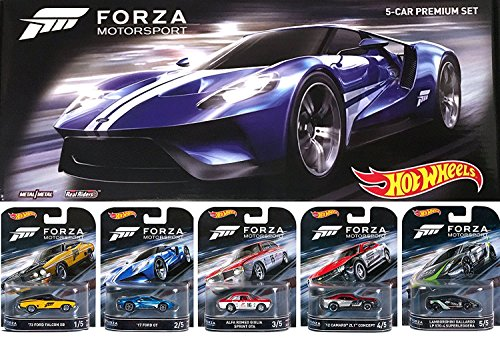 Preisvergleich Produktbild Hot Wheels FORZA Motorsport Retro Entertainment Series Box Premium Set - Lamborghini Gallardo / '17 Ford GT / Alfa Romeo Sprint GTA / Ford Falcon / Camaro ZL1 Real Riders