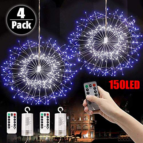 4Pack Lichterkette Weihnachts Feuerwerk 150 LED Kupferdraht Feuerwerk Lichter mit Fernbedienung 8 Modi der Lumineszenz Wasserdicht fur Schlafzimmer Haus Garten Terrasse Rasen (150 LED Blau, 4 PACK)