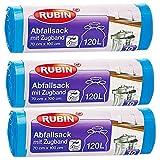 Zugband Müllsäcke - 120 Liter (30 Stück) - Für Haushalt und Büro - Reißfest und Flüssigkeitsdicht - 3er Pack (3x10 Stück) - Recyclebar - Besonders klein verpackt