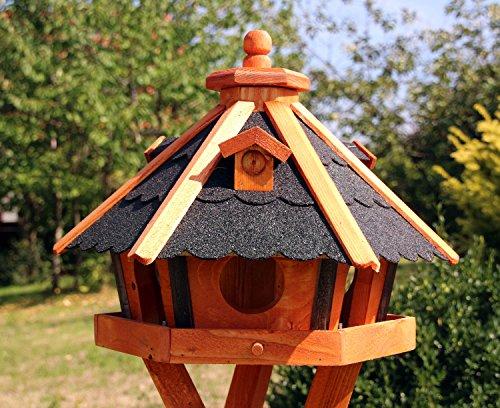 Vogelhaus, Vogelhäuser mit Solarbeleuchtung mit und ohne Ständer behandelt Typ 23 (Schwarz, ohne Ständer)