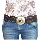 Cintura in pelle ALMADIH intrecciata a mano in cuoio per Donna Marron - Cinghia fibbia in metallo e corno - 100% fatto a mano cintura per vestito pantaloni in vita sicurezza cintura orientale