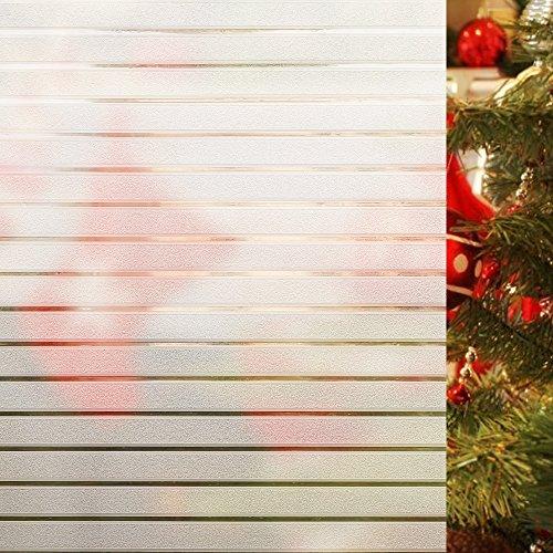 Rabbitgoo Statische Fensterfolie Glasdekorfolie Sichtschutzfolie statisch selbsthaftend Büro und Zuhause Anti-UV Upgrade, Streifen 44.5 x 150 cm
