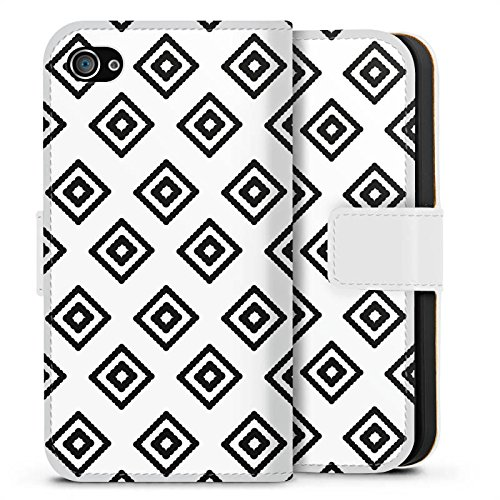 Apple iPhone X Silikon Hülle Case Schutzhülle Rauten Ethno Schwarz-Weiß Sideflip Tasche weiß