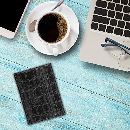 OTTO Dünn Echtes Leder Kartenhalter Brieftasche für Männer - Mehrere Schlitze für Kredit, Lastschrift, Bank und Business-Karten, Geld und Führerschein (Einfach schwarz) Muster Schwarz