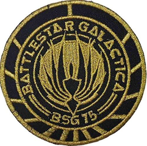 Battlestar Galactica Abzeichen (Battlestar Galactica Schwarz Gold BSG 75gestickt Abzeichen Patch Aufnäher oder zum Aufbügeln 10cm)