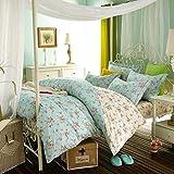 Unbekannt WLL Modernen Minimalistischen Stil Gestreifte Blumen/Blumen 100% Baumwolle Bettbezug - R 220*240 cm (87 x 94 Zoll)