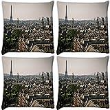 Snoogg París ciudad Pack de 4Digitalmente Impreso Cojín Almohada 16X 16pulgadas
