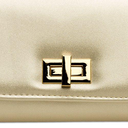 CASPAR TA364 elegante Damen Envelope Clutch Tasche / Abendtasche mit langer Kette und Drehverschluss Gold