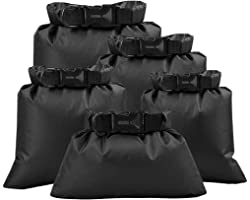 Waterproof Dry Bag Set, Lightweight Drybag Canoe Bags with 1.5L, 2.5L, 3.5, 4.5L, 6L Dry Sacks Waterproof Bags for Kayaking R