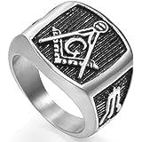 Jude Jewelers Retro Vintage Stainless Steel Masonic Ring Size 5-16