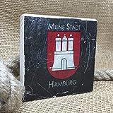 Holzbild Shabby-Chic *MEINE STADT HAMBURG**STEEL* Maritim, 10x10 cm *UNIKAT* - Holzbild, Wandbild, Landhausstil, Shabby Chic, Vintage, Bilder, Motive, Hamburg, Geschenkidee, Souvenir, Deko