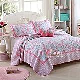 beddingleer lujo algodón impreso floral Patchwork colcha impreso Handmade almohada/Sham juego de, 3piezas King (# 2)