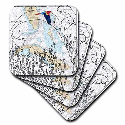 Florene, Nautical Map Dekor–Print von Coast von Florida Diagramm mit Ghost Seekuh.–Untersetzer, keramik, set-of-4-Ceramic (Küsten-dekor-tischsets)