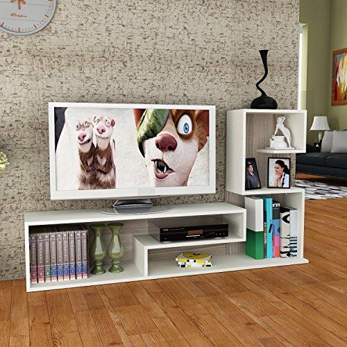 Wohnwand DUCHESS – Weiß / Avola – TV Lowboard mit Regale / Wandboard in modernem Design - 2