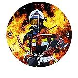 Stylische Wanduhr mit geräuscharmen Quarzuhrwerk (Helden die durchs Feuer gehen) 25 cm Feuerwehr für Stylische Wanduhr mit geräuscharmen Quarzuhrwerk (Helden die durchs Feuer gehen) 25 cm Feuerwehr