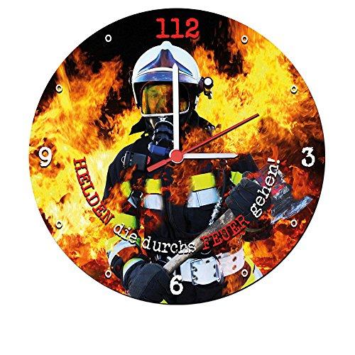feuerwehr wanduhr Stylische Wanduhr mit geräuscharmen Quarzuhrwerk (Helden die durchs Feuer gehen) 25 cm Feuerwehr