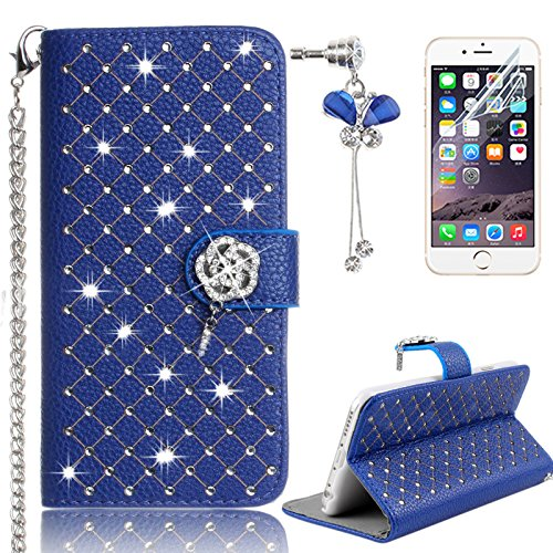 Sunroyal® Bling Glitter Diamand Strass Coque pour iPhone 4 4s Book-style Etui Housse en Premium Simili Cuir Portefeuille 3D Diamant Ballet Fille Pochette Skin Rabat Folio Case Cover de Protection Prot Diamant 13