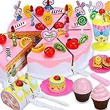Kuchen Schneiden Spielzeug Set, 87 Stück Schneidspielzeug für Kinder, Küchenspielzeug für Kinderküche (Hauptpink)