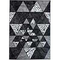 2ft4 x 4 Dream Collection Size Tapiso Hall and Stair Runner Wild Animal Snake Beautiful Soft Long Durable Carpet Grey Black Modern Pattern Interior 70 x 10 cm