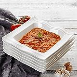 MALACASA, Série Mario, 12pcs Assiettes Creuses Porcelaine, Assiettes à Soupe Pâte Vaisselles pour 12 Personnes