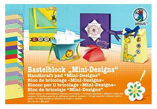 Ursus 12160099 - Artesanía Bloque Mini - Diseños de 300 g / m², 24 x 34 cm, 18 hojas , Modelos/colores Surtidos, 1 Unidad
