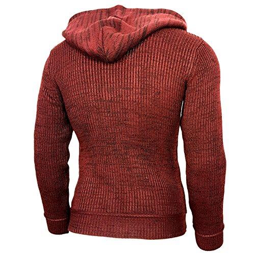 Rusty Neal Top Herren Winter Kapuzenpullover Pulli Sweatshirt Jacke RN-13277 Neu Bordo/Schwarz
