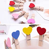 Meneon Delivering Smiles in INDIA 10 pcs Multicolour Heart Cute Designer Postcard Photo Clips Paper Pegs Pin/Clothespin…