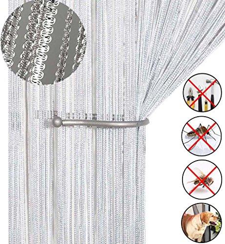 Cortina para puerta diseño de borlas y espaguetis de purpurina, protectora de insectos, con cadena para puertas o separador de ventana de 99 x 199 cm.