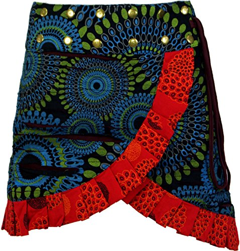 Guru-Shop Wickelrock, Kurzer Goa Rock, Cacheur, Minirock, Damen, Baumwolle, Cacheure/Hüftschmeichler Alternative Bekleidung Blau/Rot
