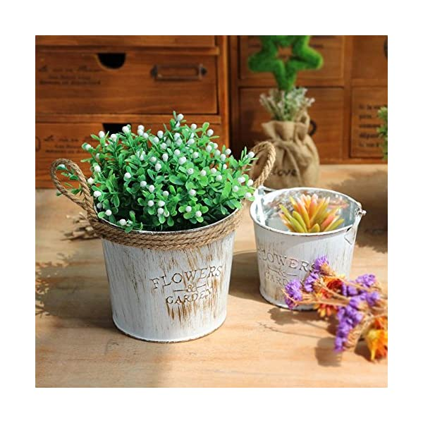 Maceta Cubo Flores Jarrón SUNNSEAN Vintage Casa Jardín Decoración Macetas de Flores Vintage, Cubo Colgante, para Jardín…