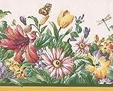 Rojo Amarillo púrpura Mariposa, libélula naturaleza cenefa de papel pintado, diseño retro diseño de flores silvestres, rollo 15